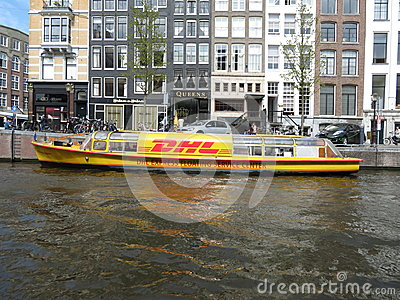 DHL courier boat in Amsterdam Editorial Photography