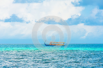 Dhoni boat in the ocean