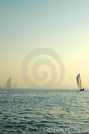 Dhow and Burj Al Arab in the Gulf