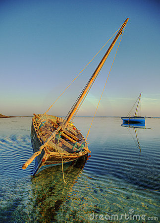 Dhow catching golden sunrise