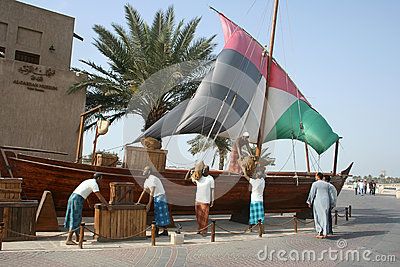Dhow monument at Al Fardah Museum, Dubai Editorial Stock Photo