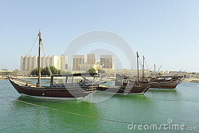 Dhows and Doha Port buildings,