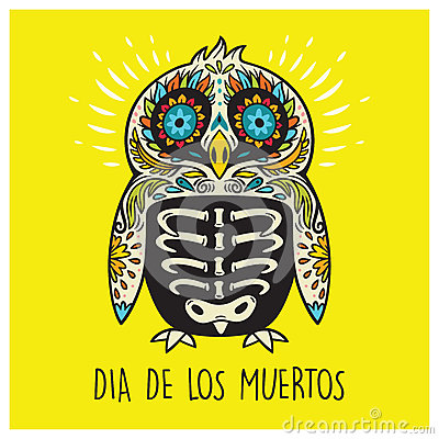 dia de los muertos. greeting card with sugar skull penguin stock, Greeting card