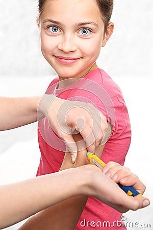 Free Diabetes, Child Take Insulin Stock Image - 61126991