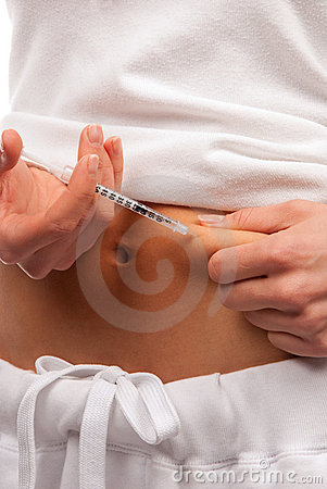 Diabetes patient making insulin injection
