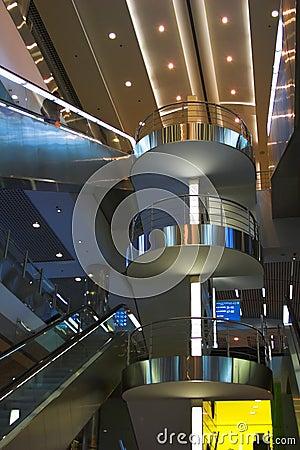 Diagonal escalators stairway