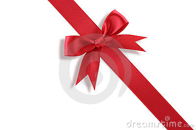 Diagonal red gift bow