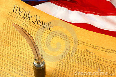 Diagonal United States Constitution, Quill Pen in Inkwell, and Flag