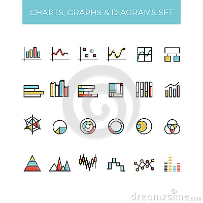 Free Diagram And Graphs Color Line Vector Icons Stock Images - 73219234