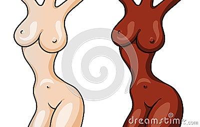 Diagram av två isolerade nakna härliga flickor på vit