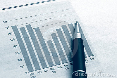 Diagram chart business with pen