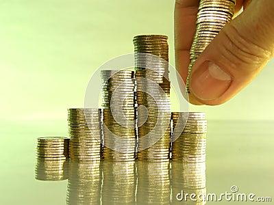 Diagram dat uit stapels van muntstukken bestaat