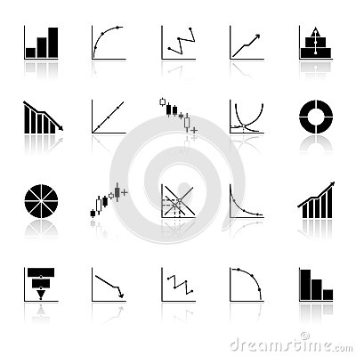 Diagram and graph icons with reflect on white back