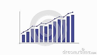 Diagramme de graphique avec la flèche et les points, animation visuelle banque de vidéos