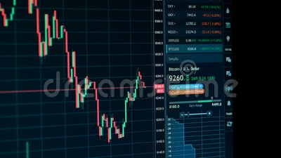 Diagramme en ligne de tendance à la baisse de marché boursier de devise de Bitcoin - investissement, commerce électronique, conce banque de vidéos