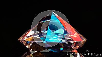 Diamant glüht mit Höhepunkten, weil er vielfältig und transparent ist Schwarzer Hintergrund stock video