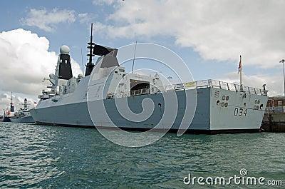 Diamante do HMS, contratorpedeiro real da marinha Foto Editorial