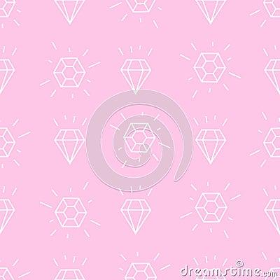Free Diamond Background. Pink And White Girlish Illustration. Stock Image - 60301171