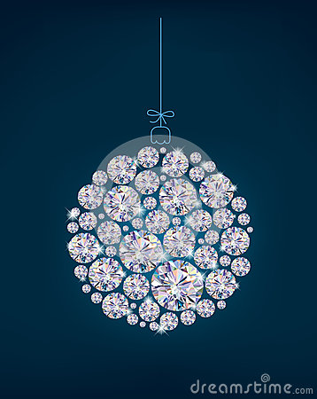 Diamond Christmas ball on blue background