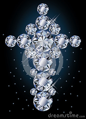 Diamond cross, greeting card