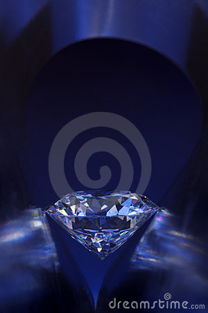 Diamond in deep-blue light