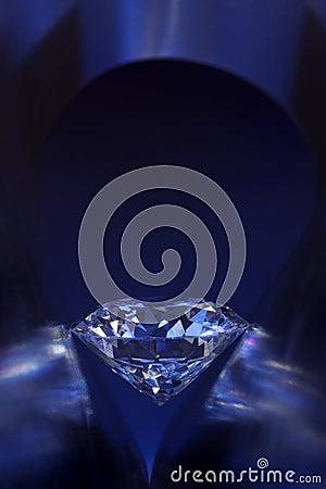 Diamond in deep-blue light