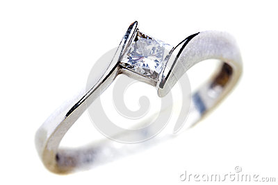 Diamond engagement ring over white