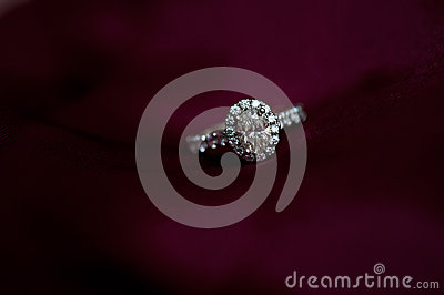Diamond Engagement Ring on Red