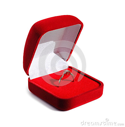 Free Diamond Engagement Wedding Ring In Open Red Box Stock Photo - 45486580