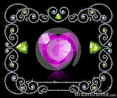 Diamond frame with jewel arrows