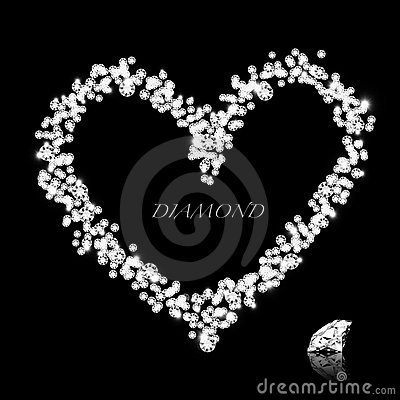 Diamond heart on black background