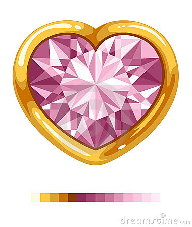 Diamond heart in golden frame