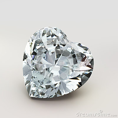 Diamond heart shape. Beautiful  shape emerald image with reflective surface. Render brilliant jewelry stock image.