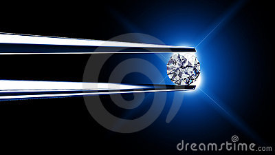 Diamond held by tweezers
