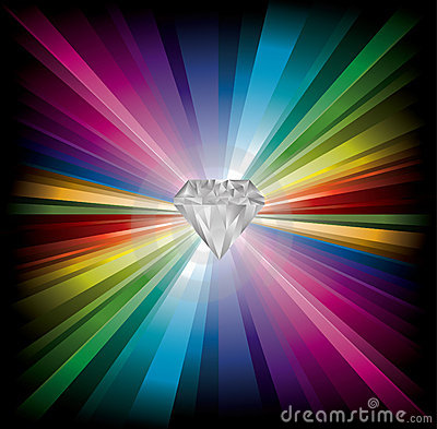 Diamond Illustration On Rainbow Background Royalty Free