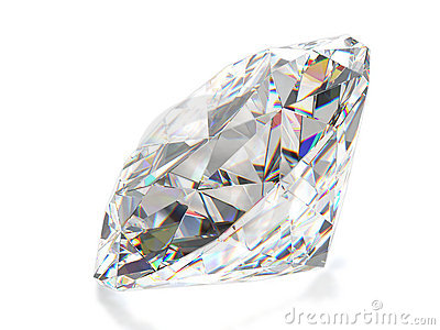 Diamond isolated on white back. Front view.