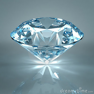Diamond jewel isolated on light blue background