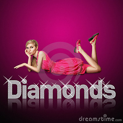 Diamond letters and blond woman
