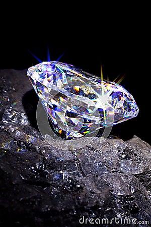 Free Diamond On Coal Black Background. Royalty Free Stock Image - 31303796