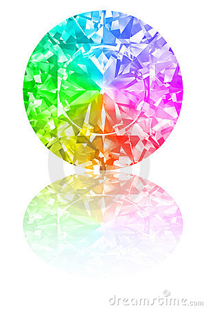 Diamond of rainbow colours on white