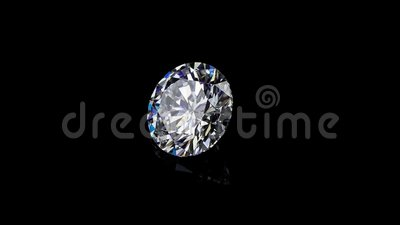 Round diamond It`s not 3D, it`s video shooting only. Diamond with real dispersion on a black background with reflection stock video