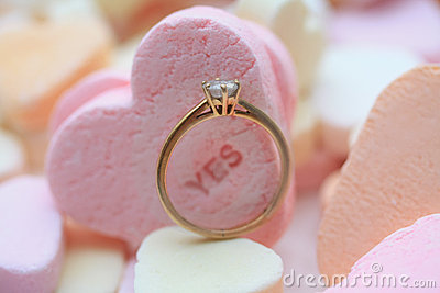 Diamond ring and candy hearts