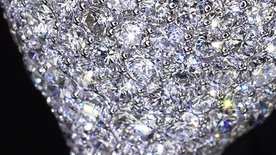 Diamond ring, not 3D, it`s video shooting only. Natural diamonds dispersion. Extreme close up. Tilt shift lens bokeh stock footage