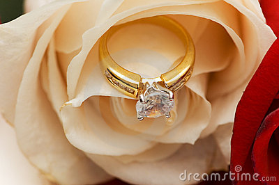Diamond ring between the petals