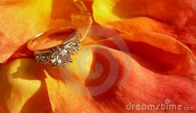 Diamond Ring on Rose Petals