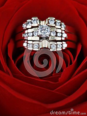 Diamond rings in a rose