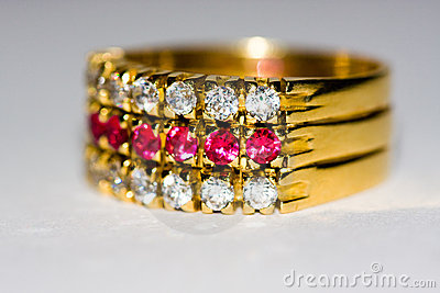 Diamond and ruby golden ring