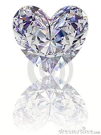 Diamond in shape of heart on glossy white backgrou