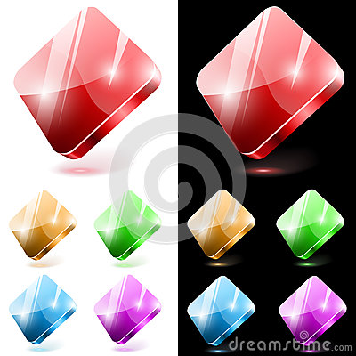 Diamond shaped glass buttons