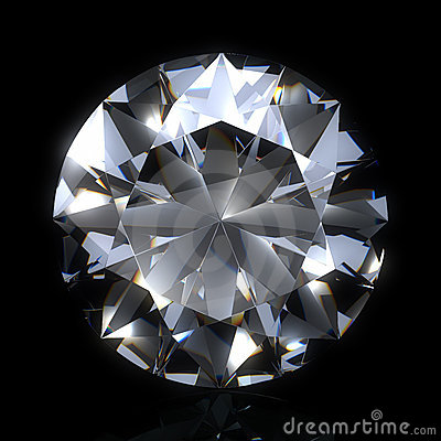 Diamond stone on black space. Beautiful shape emerald image with reflective surface. Render brilliant jewelry stock image.